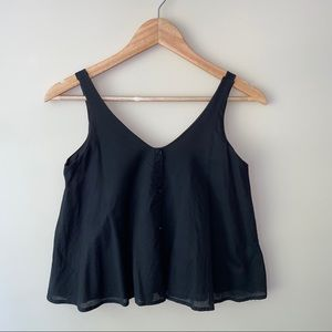 black, semi-cropped tank top